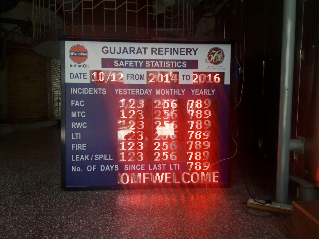 led message display board solution for safety statistics